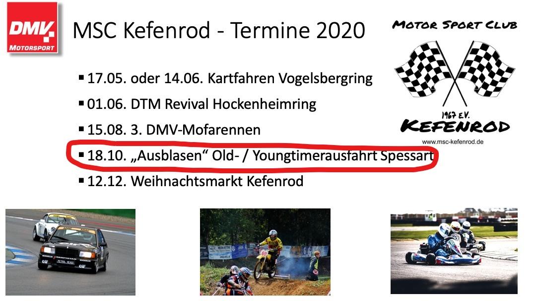 """MSC-Kefenrod e.V. im DMV: """"Ausblasen"""" Old- und Youngtimerausfahrt durch den Spessart"""